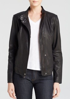 Cole Haan Washed Lamb Moto Jacket with Perforated Details