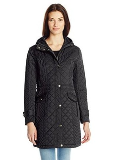 Cole Haan Women's Essential Diamond Quilted Parka with Hood and Drawcord