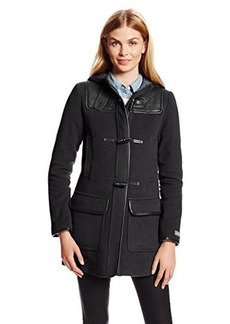 Cole Haan Women's Hooded Duffle Coat with Quilted Details