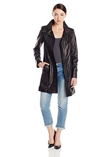Cole Haan Women's 24 1/2 Inch Single Breasted Wing Collar Jacket