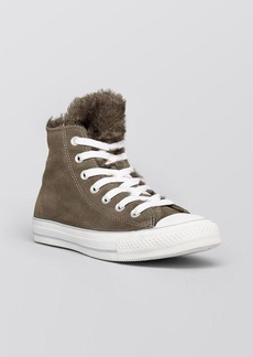 Converse Lace Up High Top Sneakers - Converse All Star Faux-Shearling