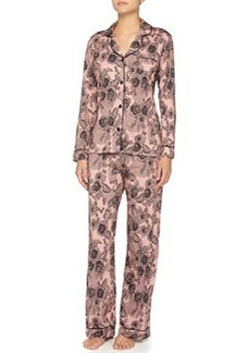 Bella Lace-Print Long-Sleeve Pajama Set   Bella Lace-Print Long-Sleeve Pajama Set