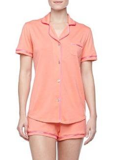 Cosabella Bella Boxer-Short Jersey Pajama Set, Coral/Pink