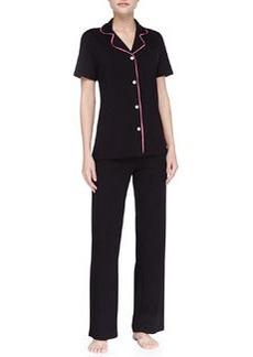 Cosabella Bella Piped Short-Sleeve Pajamas, Black/Miami Pink