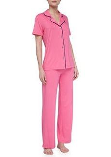 Cosabella Bella Piped Short-Sleeve Pajamas, Miami Pink/Twilight