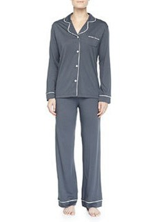 Cosabella Bella Piped Solid Pajamas, Anthracite/Ivory