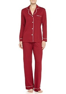Cosabella Bella Piped Solid Pajamas, Wineberry/Ivory