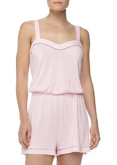Cosabella Bella Satin-Trim Jersey Jumpsuit, Pink Lily/Dove Gray