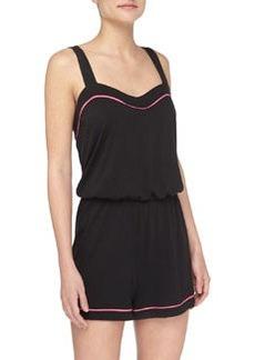 Cosabella Bella Sweetheart-Neck Lounge Jumpsuit, Black/Miami Pink
