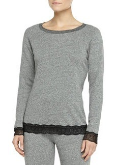 Cosabella Cortina French Terry Lace-Trimmed Top, Heather Gray/Black