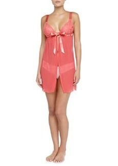 Cosabella Fetherston Tie-Front Sheer Babydoll, Shell Pink