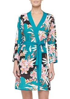 Cosabella Ibisco Floral Print Short Robe, Sapphire