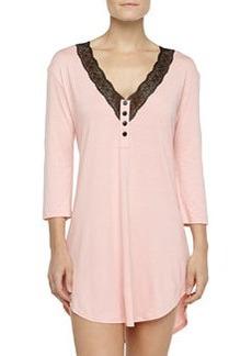 Cosabella Perugia 3/4-Sleeve Medallion Lace Sleepshirt, Rosa Sorbetto/Black