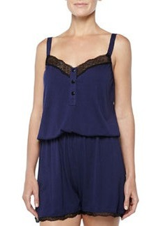 Cosabella Perugia Medallion Lace-Trimmed Short Jumpsuit, Twilight/Black