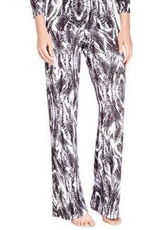 Cosabella Pordenone Snake-Print Wide-Leg Pants, Anthracite/Black