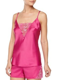 Cosabella Positano Satin & Shimmer Lace Camisole, Rose Violet/Silver