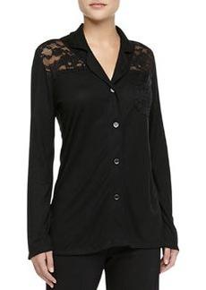 Cosabella Ravello Lace-Inset Pima Cotton Top, Black