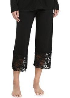 Cosabella Ravello Lace-Trimmed Crop Pants, Black