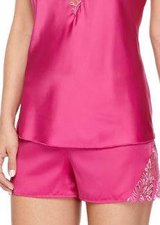 Positano Satin & Shimmer Lace Boxers, Rose Violet/Silver   Positano Satin & Shimmer Lace Boxers, Rose Violet/Silver