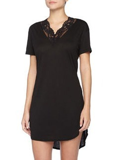 Ravello Floral Lace-Trimmed Jersey Sleepshirt, Black   Ravello Floral Lace-Trimmed Jersey Sleepshirt, Black