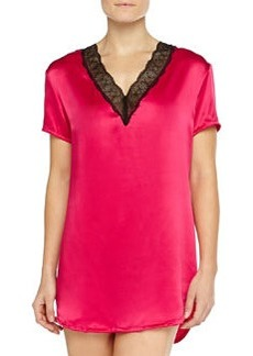 Short-Sleeve Lace-Trimmed Satin Sleepshirt, Bright Grenadine   Short-Sleeve Lace-Trimmed Satin Sleepshirt, Bright Grenadine