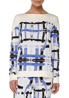 Tartan Brushstroke-Print Sleep Top, Zaffiro   Tartan Brushstroke-Print Sleep Top, Zaffiro