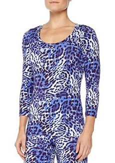 Vindemia Leopard-Print Sleep Top, Nebbia/Twilight   Vindemia Leopard-Print Sleep Top, Nebbia/Twilight