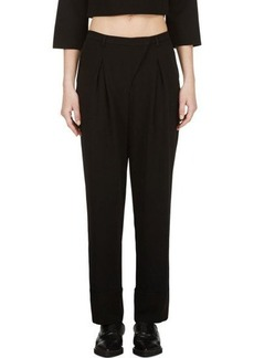 Costume National Black Pleated Straight Trousers