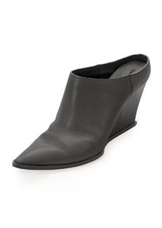 CoSTUME NATIONAL Calfskin Point-Toe Wedge Mule, Black