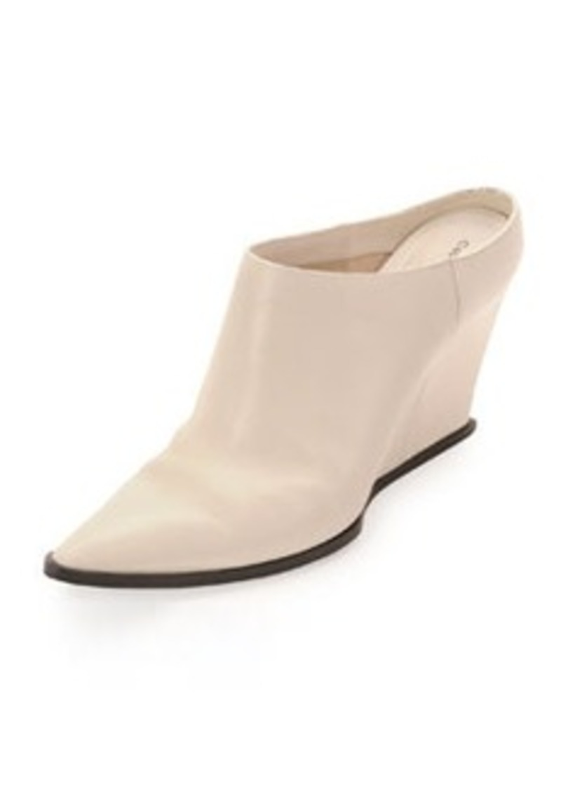 CoSTUME NATIONAL Calfskin Point-Toe Wedge Mule, White
