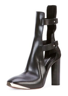 CoSTUME NATIONAL Cutout Leather Ankle Bootie, Black