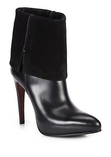 Costume National Leather & Suede Fold-Over Booties