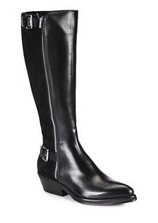 Costume National Leather & Suede Strappy Zip Knee-High Boots