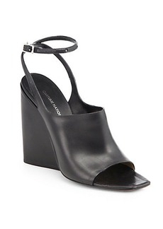 Costume National Leather Ankle-Strap Wedge Sandals