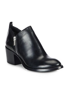 Costume National Leather Double Zip Ankle Boots