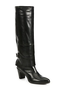 Costume National Leather Knee-High Fold-Over Buckle Boots