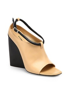 Costume National Leather Open-Toe Wedge Ankle Boots