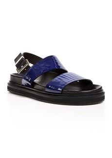 Costume National Open Toe Sandals - Croc Embossed Flatbed