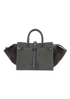 CoSTUME NATIONAL Parigi Bicolor Suede Duffel Bag, Gray/Black