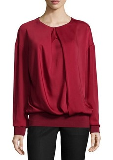 CoSTUME NATIONAL Pleated-Front Blouson Top