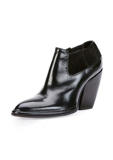CoSTUME NATIONAL Point-Toe Leather Ankle Bootie, Black