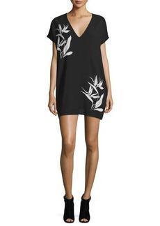 CoSTUME NATIONAL Short-Sleeve Bird-Of-Paradise Dress