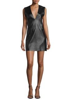 CoSTUME NATIONAL Sleeveless Leather-Front Mini Dress