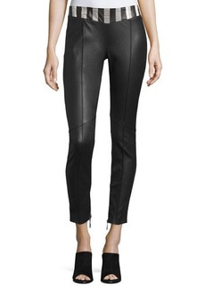 CoSTUME NATIONAL Snakeskin-Waist Leather Pants
