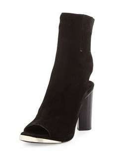CoSTUME NATIONAL Suede Peep-Toe Glove Sandal, Black