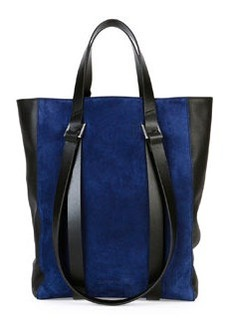 CoSTUME NATIONAL Tokyo Suede Mini Shopper Tote Bag, Blue/Black