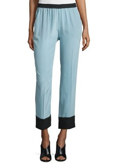 CoSTUME NATIONAL Two-Tone Straight-Leg Cropped Pants
