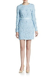 Cynthia Rowley 3D Embroidered Floral Lace Sheath Dress
