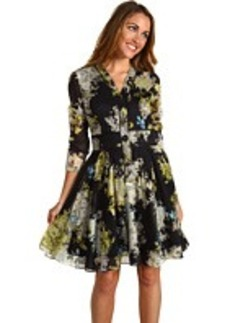 Cynthia Rowley Cotton Voile Smokey Botanical Henley Dress