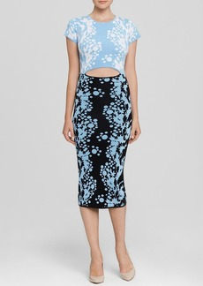 Cynthia Rowley Dress - Cap Sleeve Print Knit Cutout Midi